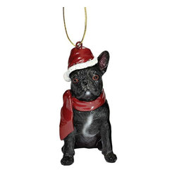 """EttansPalace - French Bulldog Holiday Dog Ornament Sculpture - With a festive Santa hat and red scarf, this adorable French Bulldog dog ornament has neither a """"bark"""" nor a """"bite"""" worth worrying over! Our French Bulldog dog ornament is realistically sculpted, cast in quality designer resin and hand painted for the """"discriminating dog lover"""". The perfect canine gift for French Bulldog dog aficionados and a fun way to include your pets in holiday decorating! Approx. 2.5""""W x 1.5""""D x 3.5""""H. .5 lb."""