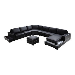 VIG Furniture - Ritz Black Bonded Leather Sectional Sofa With Built-in Lights - The Ritz sectional sofa will have you relaxing in comfort and modern style. This sectional sofa comes upholstered in a beautiful black bonded leather in the front where your body touches. Skillfully chosen match material is used on the back and sides where contact is minimal. High density foam is placed within the cushions for added comfort. The chaise features built-in accent lighting that adds to the ambiance of the setting.