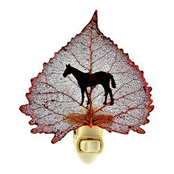 Western Horse Silhouette on Real Iridescent Cottonwood Leaf - Bring natural beauty indoors with this organic-chic nightlight. A real cottonwood leaf, preserved in precious metals and imprinted with a stately horse silhouette, makes a lovely nightlight for any space you feel needs a little illumination.