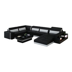 Scene Furniture - LA Contemporary Sofa Set, Black, Including Optional Matching Coffee Table - This contemporary sectional sofa set is the perfect centerpiece. It includes several beautiful and highly useful pieces such a side shelf, side light and an optional matching coffee table.