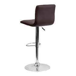 Flash Furniture - Flash Furniture Barstools Residential Barstools X-GG-NRB-1-32029-HC - This modern bar stool is upholstered in a durable vinyl upholstery and adjusts from counter to bar height. This armless design is gracefully contoured for your comfort. The height adjustable swivel seat adjusts from counter to bar height with the handle located below the seat. The chrome footrest supports your feet while also providing a contemporary chic design. [CH-92023-1-BRN-GG]