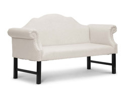 """Baxton Studio - Baxton Studio Pryor Beige Linen Modern Loveseat Bench - Sometimes luxury comes in the simplest of forms. Our Pryor Designer Upholstered Bench is perfect as a foyer bench or entryway chair but features the unexpected: lush beige linen upholstery. Equally suitable for a dining area or living room, the Pryor Banquette is Chinese-made with an engineered wood frame, black wood legs, and foam cushioning (CA117 compliant). Just a touch of detailing makes an appearance in the scroll arms with silver upholstery tack trim. Additional upholstery tack trim lines the back of the piece. The Pryor Victorian Loveseat requires minor assembly and calls for spot cleaning as necessary. Also available is the Pryor Victorian Bench in gray linen (sold separately).Product dimension: 63.75""""W x 28.12""""D x 37.5""""H, seat'sion: 50.25""""W x 18.5""""D x 20.75""""H, arm height: 30.25"""""""