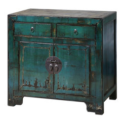 Uttermost - Uttermost Syretta Antique Console Cabinet 24356 - Antique style cabinet in a glowing, peacock blue gloss finish, heavily distressed and crackled with black and ivory undertones, accented by an ivory crackled top. Traditional Chinese hardware in aged brass.