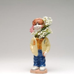 "ATD - 9.5 Inch Red Hair Boy ""Kevin"" with Letter B Sweater Design Blossom Pot - This gorgeous 9.5 Inch Red Hair Boy ""Kevin"" with Letter B Sweater Design Blossom Pot has the finest details and highest quality you will find anywhere! 9.5 Inch Red Hair Boy ""Kevin"" with Letter B Sweater Design Blossom Pot is truly remarkable."