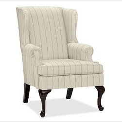 "Gramercy Upholstered Wingback Armchair, Pick-Stitch Stripe Rust - A design standout, this armchair has sloping wings, double-scroll arms and cabriole legs that define it as a Queen Anne Wingback. 29.5"" wide x 34"" deep x 42"" high Corner blocked frame for structural integrity. Tight back is thickly padded for extraordinary comfort. Heavy gauge sinuous springs support a T-shaped seat cushion with a solid foam core that's wrapped in plush padding. Espresso-stained hardwood legs. This item can also be customized with your choice of over {{link path='pages/popups/fab_leather_popup.html' class='popup' width='720' height='800'}}80 custom fabrics and colors{{/link}}. For details and pricing on custom fabrics, please call us at 1.800.840.3658 or click Live Help. View and compare with other collections at {{link path='pages/popups/furniture_DOC.html' class='popup' width='720' height='800'}}Upholstery Furniture Facts{{/link}}. Watch a video about the high quality of our {{link path='/stylehouse/videos/videos/pbq_v22_rel.html?cm_sp=Video_PIP-_-PBQUALITY-_-OUR_UPHOLSTERY' class='popup' width='950' height='300'}}upholstered furniture{{/link}}. Made in USA."