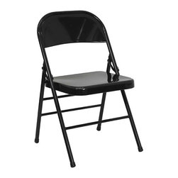 Flash Furniture - Hercules Metal Folding Chair - Set of 4 - Set of 4. Metal commercial grade folding chair. Triple braced frame. V-Tip stability caps. Non marring floor glides. Warranty: 2 year limited. Made from 18 gauge steel. No assembly required. Back: 18 in. W x 14.5 in. H. Seat: 15.75 in. W x 15.75 in. D. Seat Height: 16.75 - 17.75 in.. Overall: 19 in. W x 18 in. D x 30 in. H (6 lbs.)