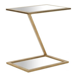 Safavieh - Andrea Accent Table - The Andrea Accent Table's posh mirrored top and shimmering gold-finish iron base evokes the spirit of an era where elegance and grace were de rigueur-- for furnishings and for life.