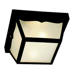 Kichler 2-Light Outdoor Fixture - Black Utility - Two Light Outdoor Fixture. Built to stand up to the weather, these attractive polypropylene lanterns are virtually maintenance free, as they never require painting, will not rust, corrode, or fade. This two light, outdoor polypropylene flush mount features a black finish with frosted white glass that protects 60-watt bulbs. It measures 5 high and is UL listed for damp location.