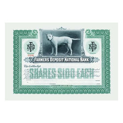"Buyenlarge.com, Inc. - Farmer's Deposit National Bank - Gallery Wrapped Canvas Art 12"" x 18"" - Stock certificates are like currency, sharing value and beauty on the face. This cancelled certificate captures a moment in history as technology advances and big business moves forward."