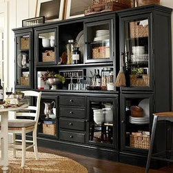 Tucker Wall Unit, 1 Buffet, 1 Hutch & 2 Towers, Black - Create a wall of cabinetry with the look of a built-in with our Tucker Wall Unit. The generously scaled buffet offers ample space for organizing dining essentials. Add the hutch for a dramatic display. 111.5'' wide x 16.5'' deep x 75'' high Crafted of hardwood and veneers. Hand finished in black, mahogany or rustic pine. Catalog / Internet Only. View our {{link path='pages/popups/fb-dining.html' class='popup' width='480' height='300'}}Furniture Brochure{{/link}}.