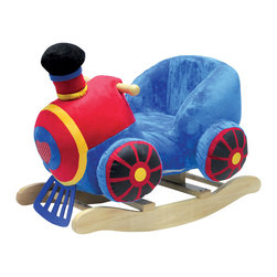 "Charm Co. - Rocking Train with Sound - The train rocker is made up of strong wood and covered by soft plush material. The rocker comes with a high back plush seat 11"" tall that secures your child while riding. It has wooden handles so that children can hold on to them while rocking and keep their balance. This rocker makes train sounds while rocking, and this feature requires 2 AA batteries (not included). It cleans easily with mild soap and water and is CPSIA (Consumer Product Safety Improvement Act) compliant."