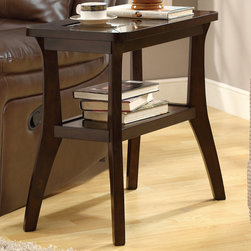 Monarch - Dark Walnut Veneer Accent Side Table - Brigthen up your home with this beautiful transitional dark walnut veneer accent table featuring a recessed tempered smoked glass top and bent legs for added style. You will have plenty of space for storage with the additional fixed shelf below.