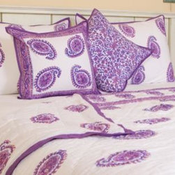 Bedding From India - A feeling of luxury and opulence emanates from these richly designed custom bed coverings, hand-block printed in India, so bright and colorful that you'll admire them more day by day. Hand Block Printed from Attiser