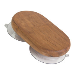 "Aqua Teak - Teak Shower Suction Holder - From the Spa Collection - The Aqua Teak Suction Holder is an accessory intended for use with our teak shower organizer. The solid teak suction holder lets you expand where you can suspend your teak shower caddy. Using the teak suction holder, you can hang the matching teak shower organizer on a smooth glass surface. You can also hang a towel or robe from the teak holder when it is not being used with the teak shower organizer, increasing its versatility and convenience. This beautiful teak hook can hold up to 20 pounds and has two suction cups for safety. We offer a 30 day no hassle satisfaction guarantee and 5 year warranty on all products. Dimensions: 6""w x 4""h x 1""d"
