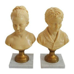 Vintage Italian Busts - A Pair - A pair of girl and boy bust sculptures, signed by A. Gianelli, made in Italy. Alabaster busts sit atop gold gilt pedestals on marble bases. Classic decorative pieces that will look great either dressed up or dressed down!