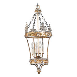 Flambeau Lighting - Flambeau Lighting LAN1154-4 4 Light Ambient Lighting Lantern Pendant - Crown 4 Light Ambient Lighting Lantern Pendant with Fleur De Lis DetailSilver fleur de lis and sculpted elements add character and style to this Benjamin Burts` four-light lantern design.There is a life force palpable in every Benjamin Burts creation. From a genesis of cold clay evolve works of art that exude an almost human warmth and texture.  Burt's designs are inspired by neoclassic design blended with the culture of the New Orleans Garden district.Features: