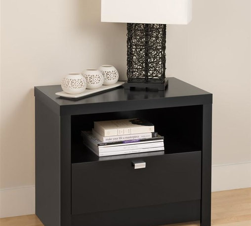Prepac - Series 9 Designer 1 Drawer Nightstand (Black) - Finish: BlackIncludes an instruction booklet for easy assembly. Perfect blend of functionality and good looks. Drawer runs smoothly on metal glides with built-in safety stops. Clear lacquered real wood drawer sides. 5 year manufacturers limited parts warranty. Made from CARB-compliant, laminated composite woods with a sturdy MDF backer. Made in North America. Assembly required. Shelf: 21.5 in. W x 14.5 in. D x 7.5 in. H. Drawer Interior: 19.75 in. W x 12.5 in. D x 5 in. H. Overall: 25 in. W x 15.25 in. D x 21.25 in. HThe Series 9 Designer 1 Drawer Nightstand draws your eye with its bold, thick tops and sides, and is the perfect choice for your modern bedroom.  The open shelf is ideal for items you want to be handy while a generously sized drawer is perfect for out-of-sight storage.
