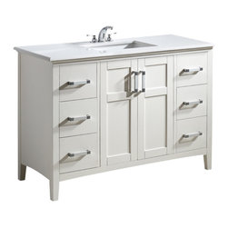 "Simpli Home - Winston White 48"" Bath Vanity with White Quartz Marble Top - The Simpli Home 48 inch Winston Vanity is a classic style vanity finished in a white lacquer finish, and multi finish chrome pulls. This beautiful assembled vanity provides large storage area with an internal shelf behind its 2 doors and 6 drawers."