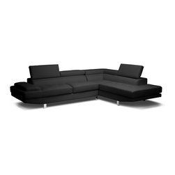 Baxton Studio - Baxton Studio Selma Black Leather Modern Sectional Sofa - Seductively sleek and unapologetically urban, the Selma Designer Sectional is a star in the sofa world. Baby sofas everywhere can only hope to grow up to have features as substantial as Selma's: a solid hardwood frame, firm foam cushioning, s springs, and pocket springs are the things dreams are made of. Adjustable headrests, metal bracket connectors, and chrome-plated legs with non-marking feet take this modern sofa and chaise set to the next level. Made in Malaysia, the Selma Sectional is finished with black bonded leather ( also offered separately in white), requires assembly, and should be wiped clean with a damp cloth.