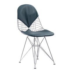 MEELANO - M245 Eiffel Chair in Navy Blue Italian Leather - Dazzle your friends and make the rest of your house jealous with this eye-catching chair. Crafted with organic spokes, you will lounge in complete comfort. Its padded backrest and seat is a modernist dream come true.  Oh! It's Italian Leather.