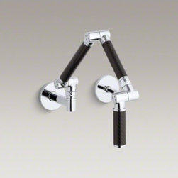 KOHLER - KOHLER Karbon(R) articulating two-hole wall-mount kitchen sink faucet with 13-1/ - A sleek hybrid of functionality and contemporary design, the Karbon kitchen sink faucet delivers water exactly where you want it. Its black tube design features three articulating pivot points for total range of motion: extend the faucet fully to fill lar