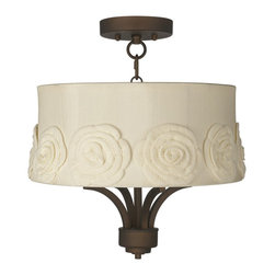"Lamps Plus - Traditional Fortuna Bronze 16"" Wide Crochet Flower Ceiling Light - The Fortuna semi-flushmount ceiling light comes in a stylish oil-rubbed bronze finish and has four candelabra style lights. The design offers the classic look of a chandelier and is updated with a stylish designer off-white shade with crochet flower applique. A wonderfully refreshing designer look for your living space.  Oil-rubbed bronze finish.  Off-white shade with crochet flower applique. Semi-flushmount ceiling light. Takes four 40 watt candelabra bulbs (not included). 15"" high. Chandelier only is 13"" wide 9"" high. Shade is 15"" across the top 16"" across the bottom 7"" high. Canopy is 5 1/2"" wide. Some assembly required; instructions included.   Oil-rubbed bronze finish.  Off-white shade with crochet flower applique.  Semi-flushmount ceiling light.  Takes four 40 watt candelabra bulbs (not included).  15"" high.  Chandelier only is 10"" wide 9"" high.  Shade is 15"" across the top 16"" across the bottom 7"" high.  Canopy is 5 1/2"" wide.  Some assembly required; instructions included."