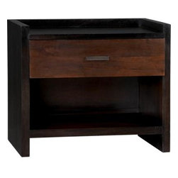 Forsyth Nightstand - Clean, straightforward styling lines up the natural beauty of richly grained mango wood finished in two gorgeous tones. Set back espresso frame outlines in bold with gallery shelf topping single tobacco-finished drawer and opening at the bottom to stow nighttime reading. Rectangular metal pull with dark antiqued finish accentuates Forsyth's strong horizontal lines.