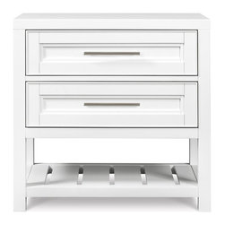 Magnussen Furniture - Clearwater Wood Open Nightstand - Constructed from Hardwood Solids with metal caps and Brushed Nickel Hardware. Tinted drawers with English dovetail in the front and the back. Felt lined top drawer. Nightstand features 2 drawers and bpottom slat shelf. White Finish. Hardwood Solids with metal caps and Brushed Nickel Hardware. White Finish. 1 Year Limited Warranty. 28 in. W x 18 in. D x 28 in. H (64 lbs.)Our Clearwater collection brings a fresh perspective, casual but modern with its clean lines and classic panel-grade molding, premium woodwork and old-world construction. Featuring a white finish over select hardwood solids.