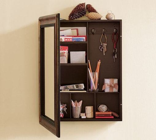 Antique Mirror Message Center - Great for small spaces, this mirror with hidden shelves is the perfect entryway piece for those that don't like clutter. Keep keys, notes, mail and other small items in one spot.