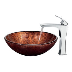 Vigo Industries - Mahogany Moon Vessel Sink w 11.5 in. Faucet - Includes all mounting hardware, hot or cold waterlines and standard US plumbing 0.38 in. connections. Handmade with unique and slight color variations. Non-porous surface prevents discoloration and fading. Stain-resistant, easy-to-clean surface. Polished glass interior with textured exterior. Above-counter and easy single-hole installation. 1.75 in. standard drain opening. High-quality ceramic disc cartridge ensures maintenance-free use. Mineral-resistant nozzle is easy-to-clean. Finishes resist corrosion and tarnishing, exceeding industry durability standards. Blackstonian vessel faucet is a simple with single lever fixture. Water pressure tested for industry standard. 2.2 GPM flow rate. Required standard 1.38 in. Dia. opening for faucet. Limited lifetime warranty. Made from hand-painted tempered glass and brass. Copper and chrome color. Glass thickness: 0.5 in.. Faucet height: 11.5 in. H. Sink: 16.5 in. Dia. x 6 in. H. Faucet Assembly Instructions. Sink Assembly InstructionsThe mahogany moon vessel sink adds a rich warmth to your home. Coupled with faucet, this sink brings a distinguished elegance into your bathroom.