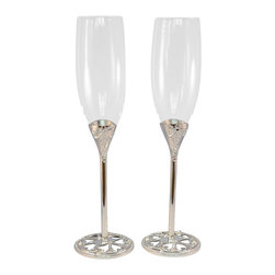 Unik Occasions - Wedding Toasting Flutes, Set of 2 - Having a vintage-themed wedding? Complete it with these two vintage-inspired champagne glasses! The base of the champagne glass is designed with a ring of simple and classic hearts. These silvery stunners will surely make a fantastic addition to your wedding reception. Couples celebrating anniversaries will also enjoy these delightful champagne glasses.