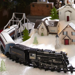 """Lionel Polar Express """"G Gauge"""" Train Set - With beautiful craftsmanship and styling that evokes a bygone era, this G-gauge steam locomotive and tender capture the magic of Christmas and the beloved charm of the Polar Express story. These pieces are built with the quality that has defined Lionel trains for more than 100 years."""