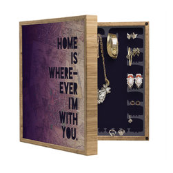 DENY Designs - Leah Flores With You BlingBox Petite - Handcrafted from 100% sustainable, eco-friendly flat grain Amber Bamboo, DENY Designs BlingBox Petite measures approximately 15 x 15 x 3 and has an exterior matte cover showcasing the artwork of your choice, with a coordinating matte color on the interior. Additionally, the BlingBox Petite includes interior built-in clear, acrylic hooks that hold over 120 pieces of jewelry! Doubling as both art and an organized hanging jewelry box, It's bound to be the most functional (and most talked about) piece of wall art in your home! Custom made in the USA for every order.