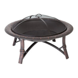 "Fire Sense - Fire Sense Roman Fire Pit - This unique fire pit features a 35"" high temp antique bronze painted steel fire bowl with hammered lip, and brushed painted steel legs. This fire pit comes complete with mesh fire screen with high heat paint and a wood grate. Also included is a screen lift tool."