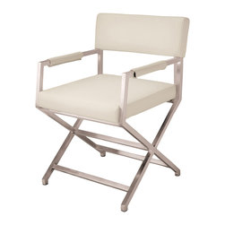 Great Deal Furniture - Rocklin White Leather Dining Chair - The Rocklin White Leather Dining Chair provides modern style with simple comfort. Correct grain white leather and stainless steel make it ideal for any dining table.