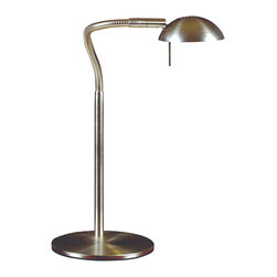 Design Craft - Teton 1-light Brushed Steel Desk Lamp - Shed light on your late-night reading or other projects with this one-light desk lamp by Sidney. Its simple style with a brushed-steel finish ensures this lamp fits with virtually any decor. The angle of the light is adjustable for your convenience.