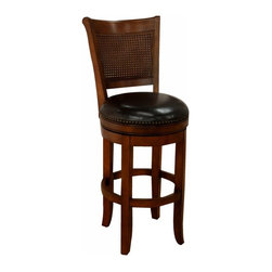 """American Heritage - American Heritage Barletto 30 Inch Barstool in Suede - All the design elements of a classic stool. The combination of rattan and tack seating will be sure to compliment your entertaining space. The stool not only looks great but the 3"""" cushion provides the comfort you need. What's included: Barstool (1)."""