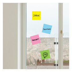 """WallsNeedLove - Colored Sticky Note Dry Erase Wall Decals - Includes: (4), 10"""" x 10"""" colored sticky note decals that are dry erase"""