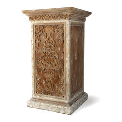 Carved Pedestal - Perhaps an objet d'art will rest upon it. Or a petite gallery of photographs, faded and cherished. Or a single antique glass vase that captures the imagination as it catches the sun. The Carved Pedestal allows for dramatic display of your timeless treasures. Intricate carvings lend an old-world feel to weathered wood that boasts variegated colors and textures. Stunning in and of itself, the pedestal enhances the transitional decor of your great room, private library, or grand entryway.