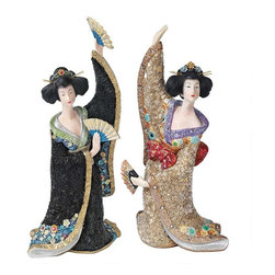 EttansPalace - Odoriko Oriental Fan Geisha Asian Statue Sculpture - Set of 2 - Welcome the beauty of Asia with this graceful pair of fanning Odoriko Oriental geisha statues who dance the Kyomai. Authentically arrayed from their delicate bira-bira hair pins to their flowing and elaborately floral bedecked kimono, these gallery-worthy Asian sculptures are cast in quality designer resin, then intricately hand-painted and accented with tiny beads and flowers.