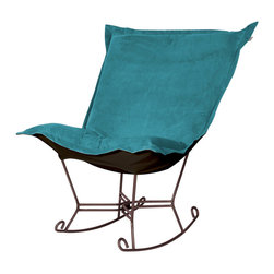 Howard Elliott - Mojo Turquoise Mahogany Frame Scroll Puff Rocker - Nothing less than the most comfortable chair on the planet! The soft luxury and style of our Puff Collection is a great addition to any room. All Puff cushions are constructed with luxurious foam for optimal comfort. Like most HEC items, Puff cushions are removable for easy cleaning, are interchangeable between frames. Mojo Turquoise, suede-like texture in a bold turquoise blue color. 40 in. W x 37 in. D x 40 in. H