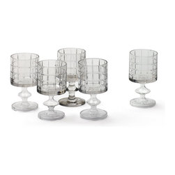 Go Home - Go Home Set of Six Geometric Wine Tumblers - Add spark to the special occasions or parties with the Set of Six Geometric Wine Tumblers. Crafted from sturdy and durable glass, this set can be a practical addition especially if you have a country chic mini-bar setup in your home. This magnificent set is adorned with hand-blown cut and finish for a perfect outlook.