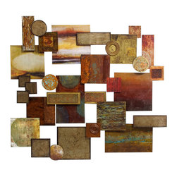 John Richard - John Richard Cosmos GBG-0329 - An assemblage of castings and sheet metal, each with its own unique hand finish, appears to hover just inches from the wall. With hangers strategically placed on all four sides, it can be hung in a variety of different attitudes. The earthy colors are achieved through masterful use of patinas, paints, and texturing media. Disclaimer: due to the nature of finishing techniques and materials, no two pieces will be exactly the same.
