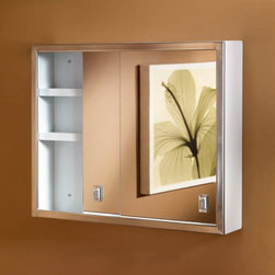 Broan-NuTone - Broan-Nutone Contempra 24W x 19H in. Surface Mount Medicine Cabinet B704850 Mult - Shop for Bathroom Cabinets from Hayneedle.com! Admit it. Sliding doors are kind of fun like discovering secret hiding places. The Broan-Nutone Contempra Surface Mount Medicine Cabinet - 24W x 19H in. is a contempra-ary take on a sliding door medicine cabinet. Smartly framed in gleaming stainless steel it looks clean and strong. The double mirrors are flat and distortion-free and open with smudge-proof finger tabs. Inside the rust-resistant white enamel steel body of the Contempra medicine cabinet you'll find two large adjustable steel shelves and plenty of room for your stuff. You'll have more room in your room too: a sliding door cabinet doesn't need any swing space for the door. This surface mount cabinet needs no wall modifications so installation is easy. Perfect! About Broan-NuToneBroan-NuTone has been leading the industry since 1932 in producing innovative ventilation products and built-in convenience products all backed by superior customer service. Today they're headquartered in Hartford Wisconsin employing more than 3200 people in eight countries. They've become North America's largest producer of medicine cabinets ironing centers door chimes and they're the industry leader for range hoods bath and ventilation fans and heater/fan/light combination units. They are proud that more than 80 percent of their products sold in the United States are designed and manufactured in the U.S. with U.S. and imported parts. Broan-NuTone is dedicated to providing revolutionary products to improve the indoor environment of your home in ways that also help preserve the outdoor environment.