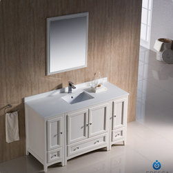 "Fresca - Fresca Oxford 54"" Traditional Single Sink Vanity Set w/ 2 Side Cabinets - Blending clean lines with classic wood, the Fresca Oxford Traditional Bathroom Vanity is a must-have for modern and traditional bathrooms alike. The vanity frame itself features solid wood in a stunning mahogany finish that's sure to stand out in any bathroom and match all interiors. Available in many different finishes and configurations."