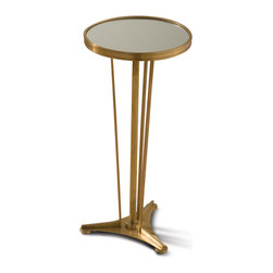 Kathy Kuo Home - Monaco French Art Deco Regency Style Antique Brass Drink End Table - A slim side table is a stylish solution for smaller spaces. This piece combines French, modern and art deco for a result that makes a grand statement in an intimate space. Delicate brass legs rise to support a round, mirrored tabletop that holds drinks, snacks and other treasures.