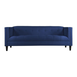 Apt2B - The Pacific Sofa, Royal Blue - This handsome sofa will give any room a classic feel. The tight tufting on the seat, back, and inside arms with detailed stitching shows that the devil really is in the details. The Pacific's simple lines make it perfect for a small space. Each piece is expertly handmade to order in the USA and takes around 2-3 weeks in production. Features a solid hardwood frame and upholstered in a textured poly-blend fabric.
