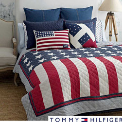Tommy Hilfiger - Tommy Hilfiger Americana Cotton Quilt - This classic Americana cotton quilt from Tommy Hilfiger features stars and stripes in a classic motif with a modern twist. The quilt is filled with a soft and comfortable cotton and polyester blend.