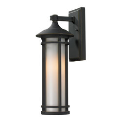 Z-Lite - Rubbed Bronze Woodland 1 Light Outdoor Wall Sconce with Matte Opal Shade - Clean contemporary styling on a traditional look make this small wall mount fixture well suited for any home. The light has oil rubbed bronze finish with matte opal glass.