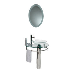 """Fresca - 29.5 Inch Modern Glass Bathroom Vanity - This simply constructed jewel tone chrome stand and gently sloping tall clear glass basin are ideal for simple living with a touch of class and modern charm.  Versatile for any d�cor.  Quietly interesting and chic without being disruptive. Dimensions: 28.75""""W x 18.25""""D x 34.25""""H (Tolerance: +/- 1/2""""); Counter Top: Tempered Glass Countertop/Sink; Finish: Stainless Steel; Features: N/A; Hardware: Chrome; Sink(s): 15.5""""x15.5""""x5.5"""" Clear Tempered Glass Sink, No Overflow; Faucet: Pre-Drilled for Standard Single Hole Faucet (Included); Assembly: Light Assembly Required; Countertop, Sink, Cabinet Not Attached; Large cut out in back for plumbing; Included: Cabinet, Sink, Choice of Faucet with Drain, Mirror (24""""W x 31.5""""H); Not Included: Backsplash, Medicine Cabinet (14""""W x 14""""L x 23.5""""H (Optional))"""